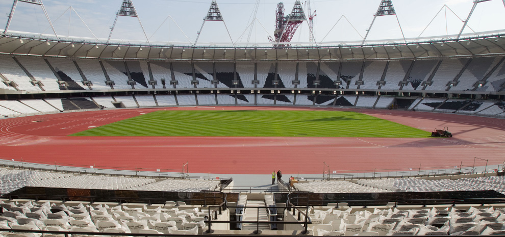 View to the field of play and athletics track