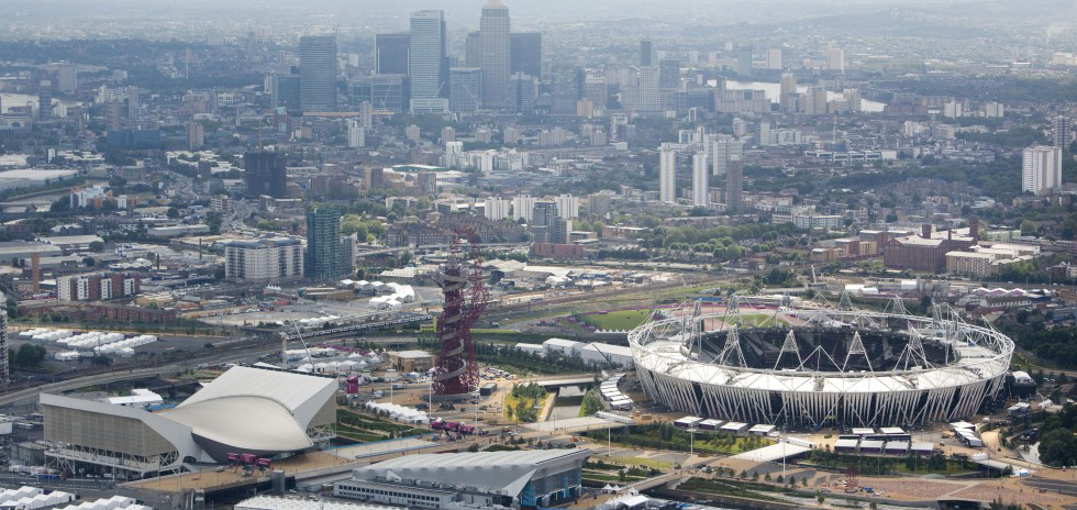 Aerial view across the Olympic 2012 site